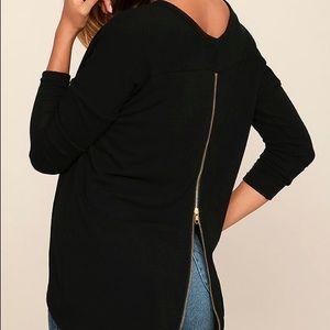 Lulu's Black zipper back sweater